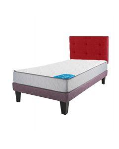 Cama Europea Ciruela Moddula 1.5 Plazas Box + Respaldo Design Coral